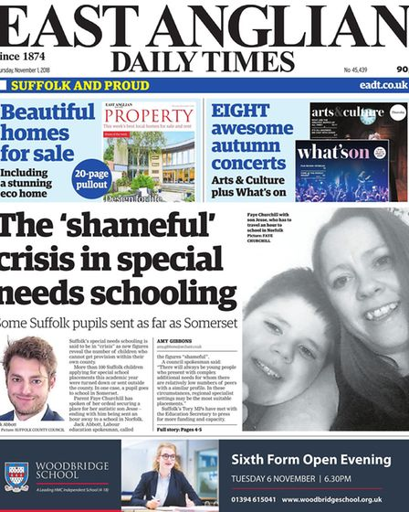 East Anglian Daily Times coverage of Suffolk's special educational needs crisis. Picture: ARCHANT
