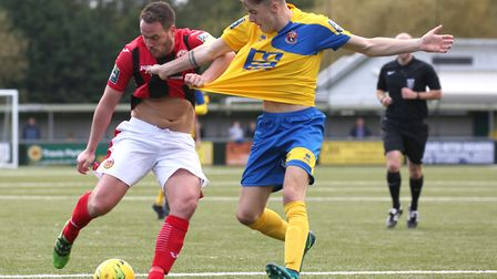 Tyler French, right in action for AFC Sudbury against Heybridge Swifts' Luke Callander, is currently