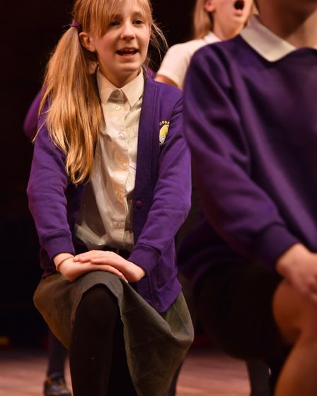 Woodbridge Primary pupils enjoy a once in a lifetime change to perform at Snape Picture: SONYA DUNC