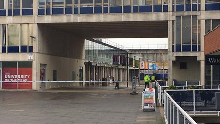 A police cordon is in place at the University of Essex Picture: JAKE FOXFORD