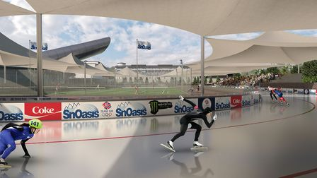 An artist impression of SnOasis. The proposed speed skating. Picture: ONSLOW SUFFOLK/SNOASIS