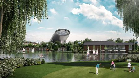 An artist impression of SnOasis. The proposed lake view. Picture: ONSLOW SUFFOLK/SNOASIS