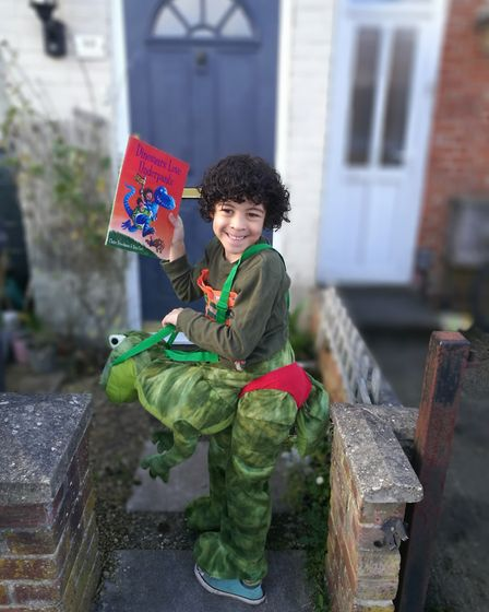 Riaz Darwin-Boyd, aged six, goes to Sidegate Primary, Ipswich. He is dressed as Dinosaurs Love Under