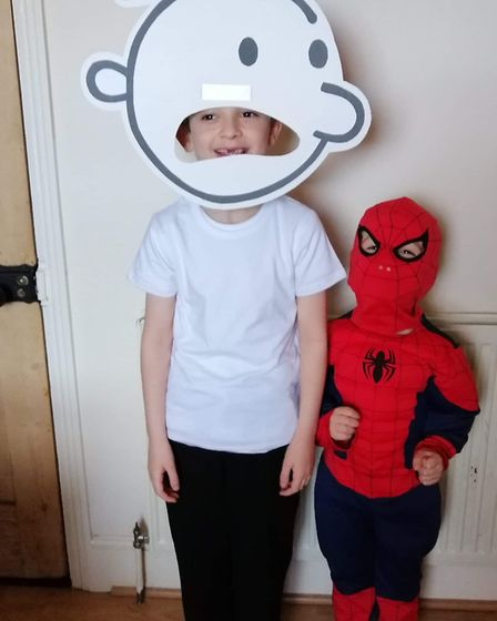 Jacob Oliver, age seven, dressed up as the Diary of a Wimpy Kid and James Oliver, age four, dressed
