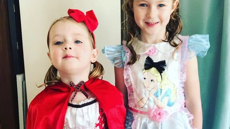 Maggie Rae Stanford, age three, and Darcy Mae Stanford, age five. Picture:KATY-LOUISE HAWKES
