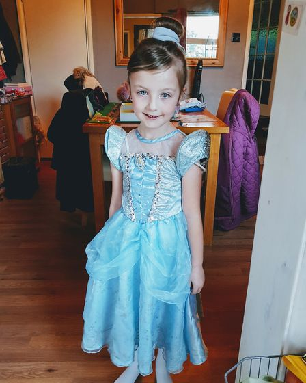 Isobel Rose, age six, goes to Abbots Hall Primary School, Stowmarket. Dressed up as Cinderella. Pict
