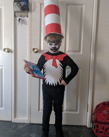 Jack Cable, who attends Aldeburgh Primary School dressed today as Dr Seuss's The Cat in the Hat. Pic