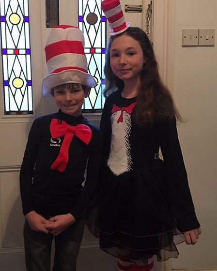 Miranda and Harry Wynn, who go to Dale Hall Community Primary, dressed as Cat in the Hat. Picture: M