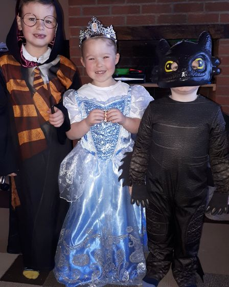 Dylan age six, as Harry Potter, Alaya age four as Cinderella and Oakley age three as toothless. Pict