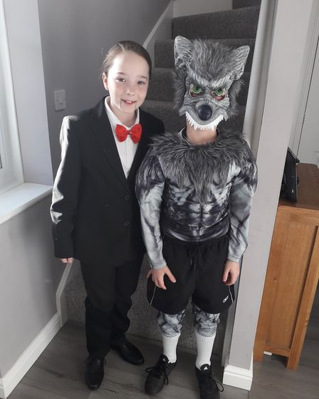 Talia Franklin age ten and Thomas Franklin age eight, dressed as Slappy the Dummy and the Werewolf f