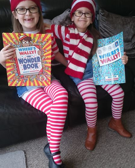 Ava Martin age six and Holly Martin age four from Castle Hill Infant School. Picture: CLAIRE MARTIN