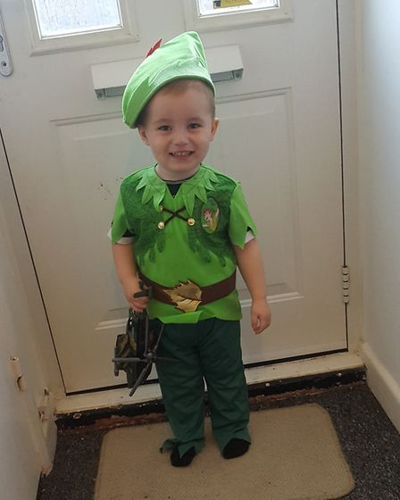 Jaeden Andrew Daly, age two, goes to Foxglove Nursery in Stowmarket and has dressed up as Peter Pan