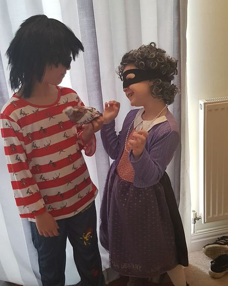 Phoebe age six as Gangster Granny and Harry age nine as Ratburger from David Walliams books. Picture