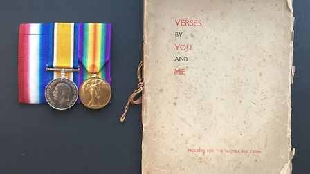 """Capt Smyllie's medals and the copy of """"Verses by You and Me"""" containing poems written by both Captai"""