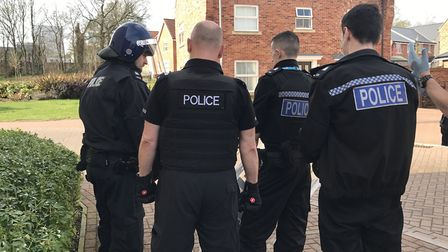 As part of operation Velocity, police officers prepare themselves to enter the property, Picture: Vi