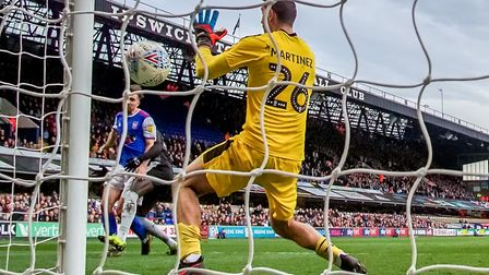 Gwion Edwards scores Ipswich Town's equaliser against Reading last weekend. Photo: Steve Waller