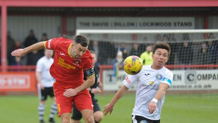 Needham's Gareth Heath, left, who will return after illness for the visit of Tamworth. Picture: BEN