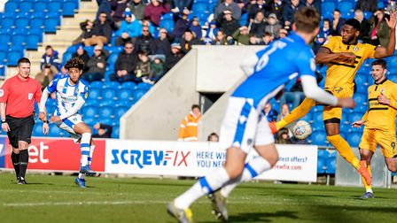 Courtney Senior makes it 2-0 for the U's with this strike just before half-time. Picture: STEVE WAL
