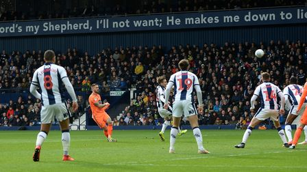Luke Chambers tries a first half shot on goal at West Brom Picture Pagepix