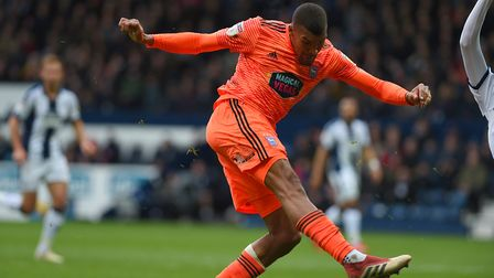 Collin Quaner forces a save from the keeper at West Brom Picture Pagepix