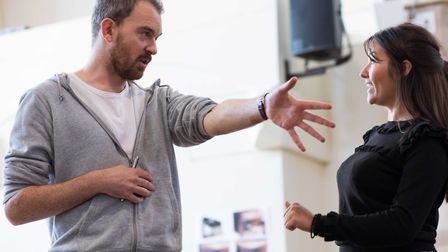 Alastair Whatley (director) with Jasmyn Banks in rehearsal for Caroline's Kitchen. Photo:Sam Taylor