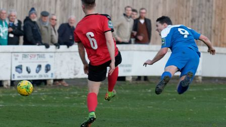 Bury Town's Ollie Hughes (9) and his team-mates couldn't get the win at Coggeshall. Picture: PAUL VO