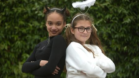 Myia and Annabel dressed up as Yin and Yang Picture: SARAH LUCY BROWN