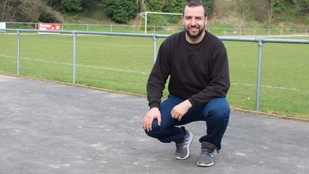 Lakenheath manager Ben Cowling on the hardstanding that runs in front of the clubhouse and stand. Ph