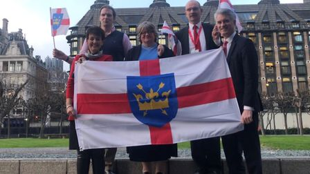 MPs Jo Churchill, Dan Poulter, Therese Coffey, Sandy Martin and James Cartlidge join in the Suffolk