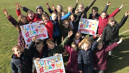Children from Broke Hall Primary School in Rushmere St Andrew are looking forward to Suffolk Day Pic