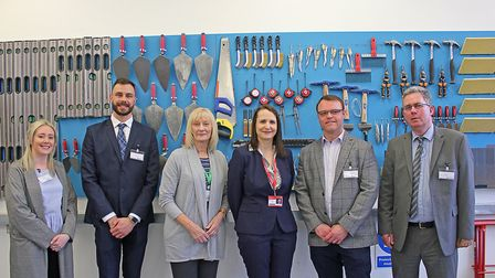 Inside the Construction Skills Centre at Clacton Campus. Left to right: Lis Casswell, Phelan Constru