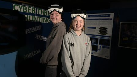 Lucy and Ella from Copleston High School trying out virtual reality Picture: SARAH LUCY BROWN