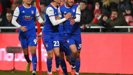 Myles Kenlock celebrates Ipswich's equaliser during the second half at Bristol City Picture Pagepix