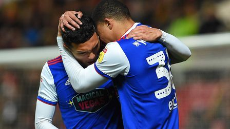 Myles Kenlock and Andre Dozzell celebrate Ipswich's equaliser during the second half at Bristol City