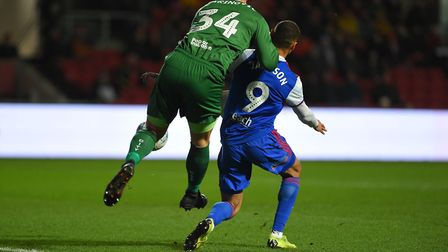 Kayden Jackson creates an early chance by putting the Bristol City keeper under pressure Picture Pag