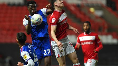Josh Emmanuel in the thick of the action at Bristol City Picture Pagepix