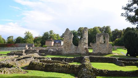 The ruins of the old cathedral in Abbey Gardens Picture: GREGG BROWN
