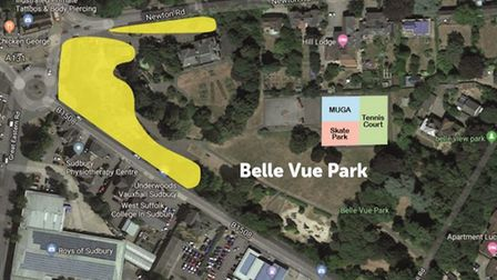 The yellow area shows the potential land in Belle Vue Park which could be developed under the plans