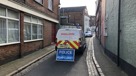 Police closed George Street after a man was found with stab wounds Picture: JAKE FOXFORD