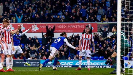 Will Keane wheels away after scoring a late equaliser for Ipswich Town in the 1-1 draw against Stoke