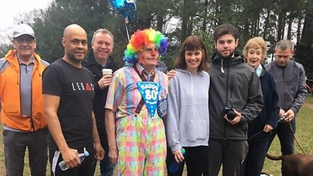 Martin Tilley pictured with family and friends at the Bury St Edmunds parkrun