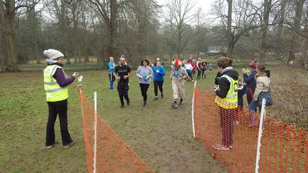 Martin Tilley approaches the finish funnel at the Bury St Edmunds parkrun in Nowton Park on Saturday