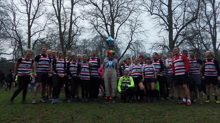 Martin Tilley with members of his Saint Edmund Pacers club, who turned up in force to celebrate his
