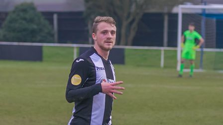 Jake Rudge scored four for Woodbridge Town in their 8-2 dismantling of Hadleigh United. Picture: PAU