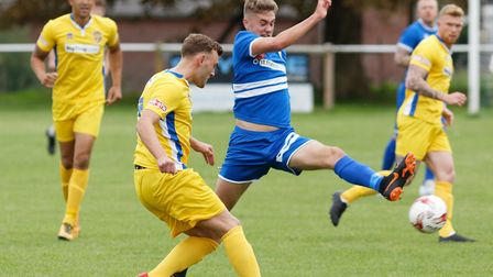 Jack Madle, right, scored Brantham's winner in their 1-0 victory at Framlingham Town. Picture: PAUL