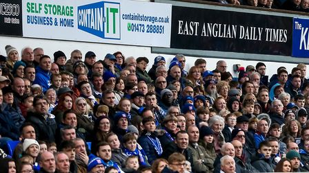 Town fans watch on as Ipswich draw 1-1 with Stoke at Portman Road. Picture: STEVE WALLER