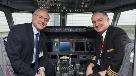 (L to R) Terry Snow, head of aircraft transactions at Jet2.com with Captain Stephen Gates