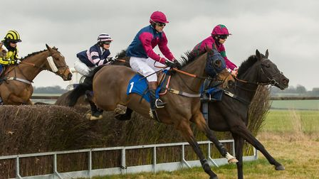 Local Show and William Humphrey (far side) winners of the Novice Rider�s race. Photo: GRAHAM BISHOP