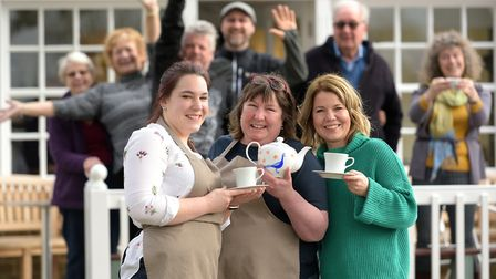 Beth and Sara Benstead and Sally Connick on the first anniversary of Meet Up Mondays at The Weavers