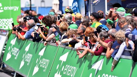 Large crowds attend the finsh line in Southwold for the first stage of the OVO energy Women's Tour